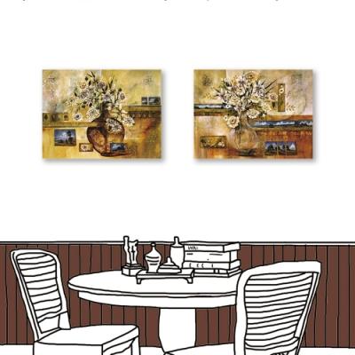24mama掛畫-二聯式 古樸花卉 油畫風無框畫 60X80cm-古意