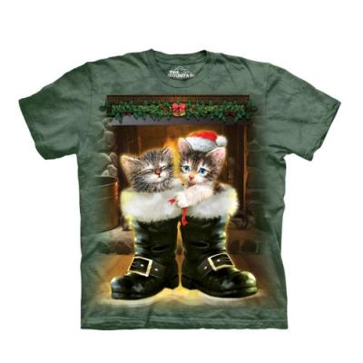 摩達客-美國The Mountain 聖誕雪靴貓 純棉環保短袖T恤