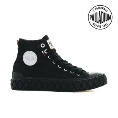 PALLADIUM PALLA ACE CVS MID格紋厚底高筒帆布鞋-中性-黑