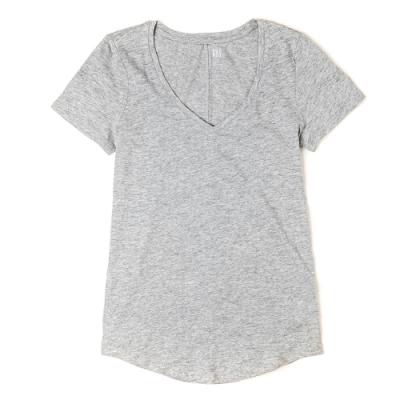 GAP 經典V領素面短袖T恤(女)-灰色