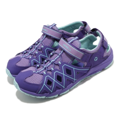 Merrell 涼鞋 Hydro Quench 運動休閒 童鞋 快乾內裡 緩震 高抓地力 魔鬼氈 中大童 紫 藍 MK163198