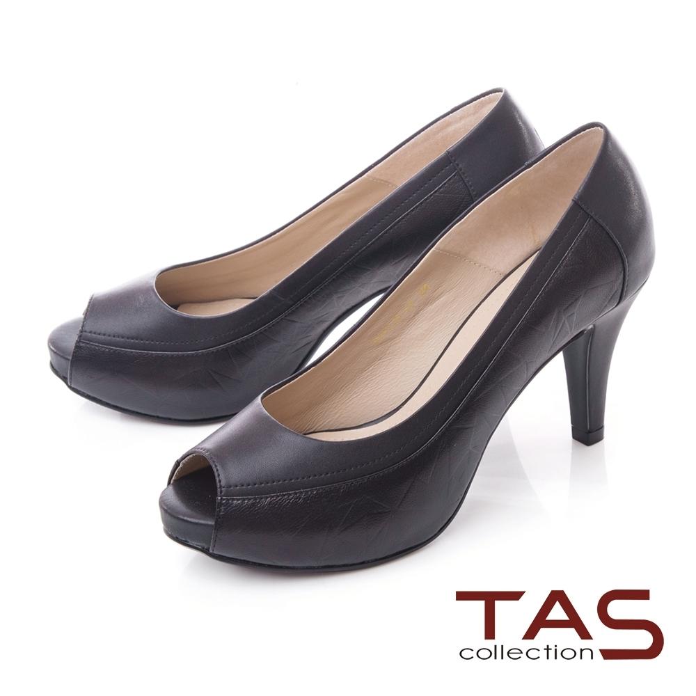 TAS異材質拼接素面壓紋魚口高跟鞋-百搭黑