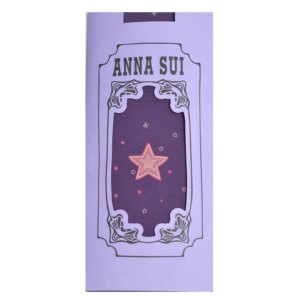ANNA SUI 繽紛星星圖騰花紋靜電防止加工半統襪(深紫色)