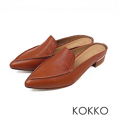 KOKKO -  理性與感性手工羊皮尖頭穆勒鞋-午茶棕