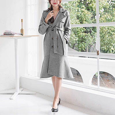 溫暖毛呢收腰綁帶魚尾下襬長版大衣/外套-OB大尺碼