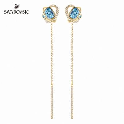 施華洛世奇 Outstanding 金色愛心飾框梨形藍墜飾穿孔耳環