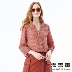【麥雪爾】格紋印花蝴蝶珍珠上衣