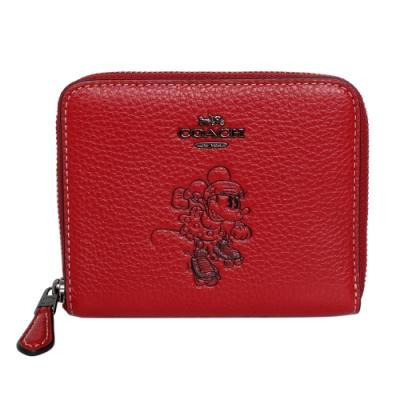 COACH x Disney紅色全皮溜冰米妮ㄇ型拉鍊短夾