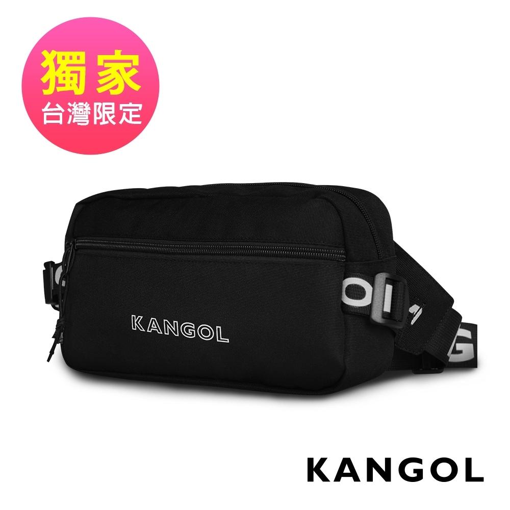 KANGOL LIBERTY系列 韓版潮流LOGO背帶單肩/腰包-黑 KG1195