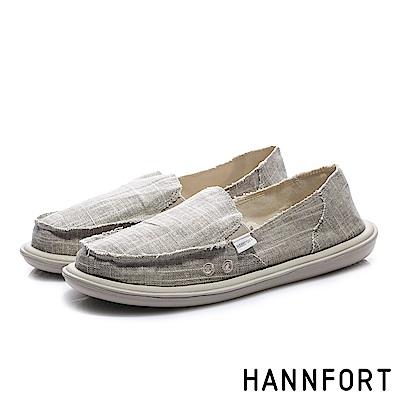 HANNFORT COZY 無印風文青懶人鞋-女-舒適卡其