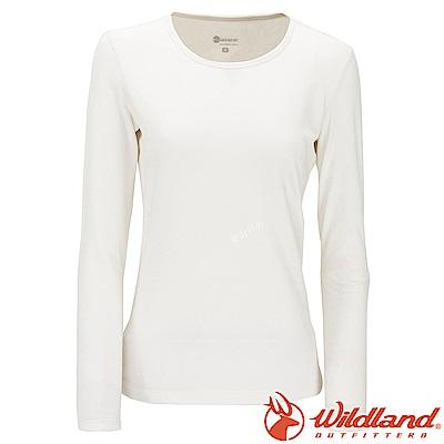 Wildland 荒野 W2653-81米白色 女遠紅外線保暖U領衛生衣
