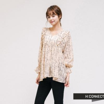 H:CONNECT 韓國品牌 女裝 - 浪漫印花雪紡上衣-卡其