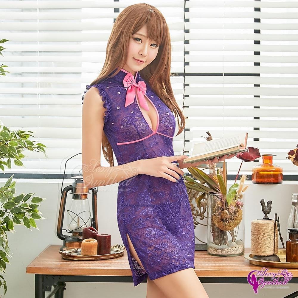 Sexy Cynthia 角色扮演 魅惑深紫柔紗刺繡旗袍二件組-紫F