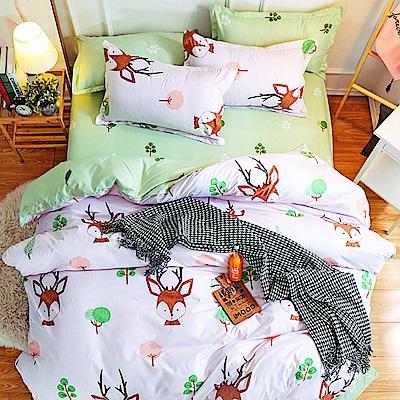 Goelia  加大 親膚棉感活性印染涼被床包組-鹿先生