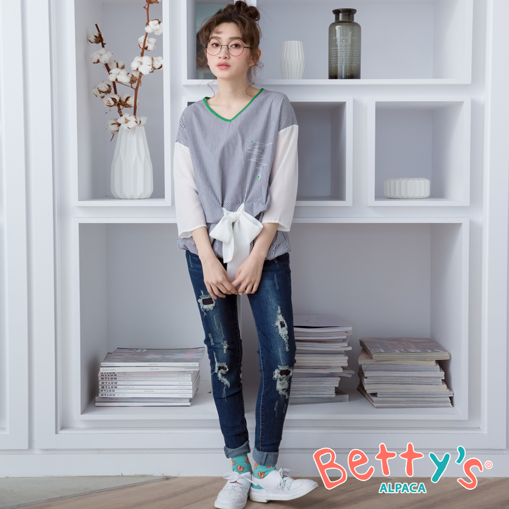 betty's貝蒂思 刷破抽鬚顯瘦窄管牛仔褲(深藍)