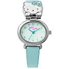 HELLO KITTY  凱蒂貓 俏麗貓頭卡通女錶-綠/27mm