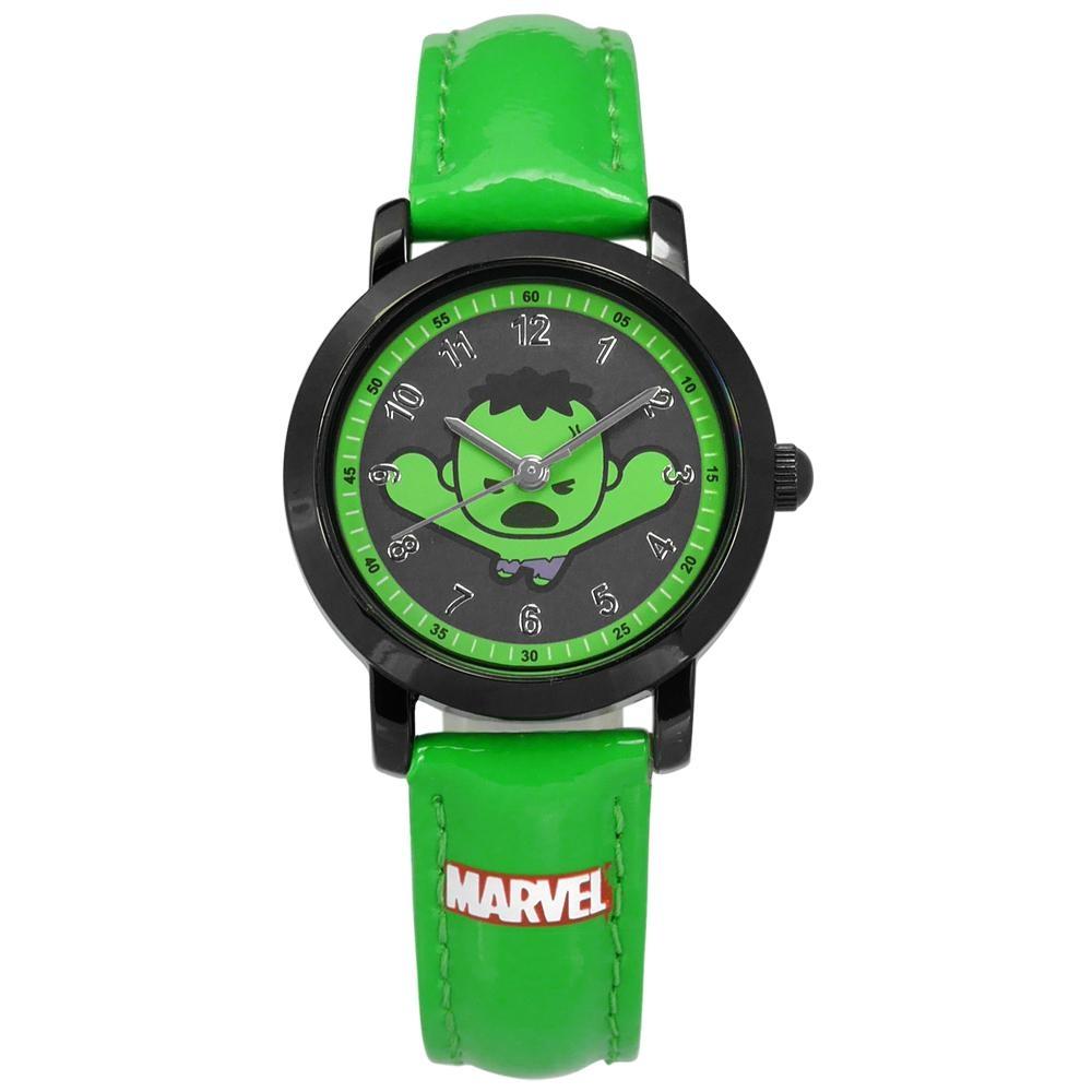 Disney 迪士尼 漫威系列 復仇者聯盟 綠巨人浩克 兒童 皮革手錶-綠x黑/29mm