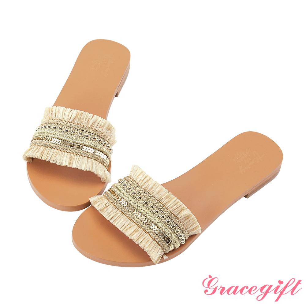 Grace gift X Tammy-聯名異材質編織寬版涼拖鞋 米色