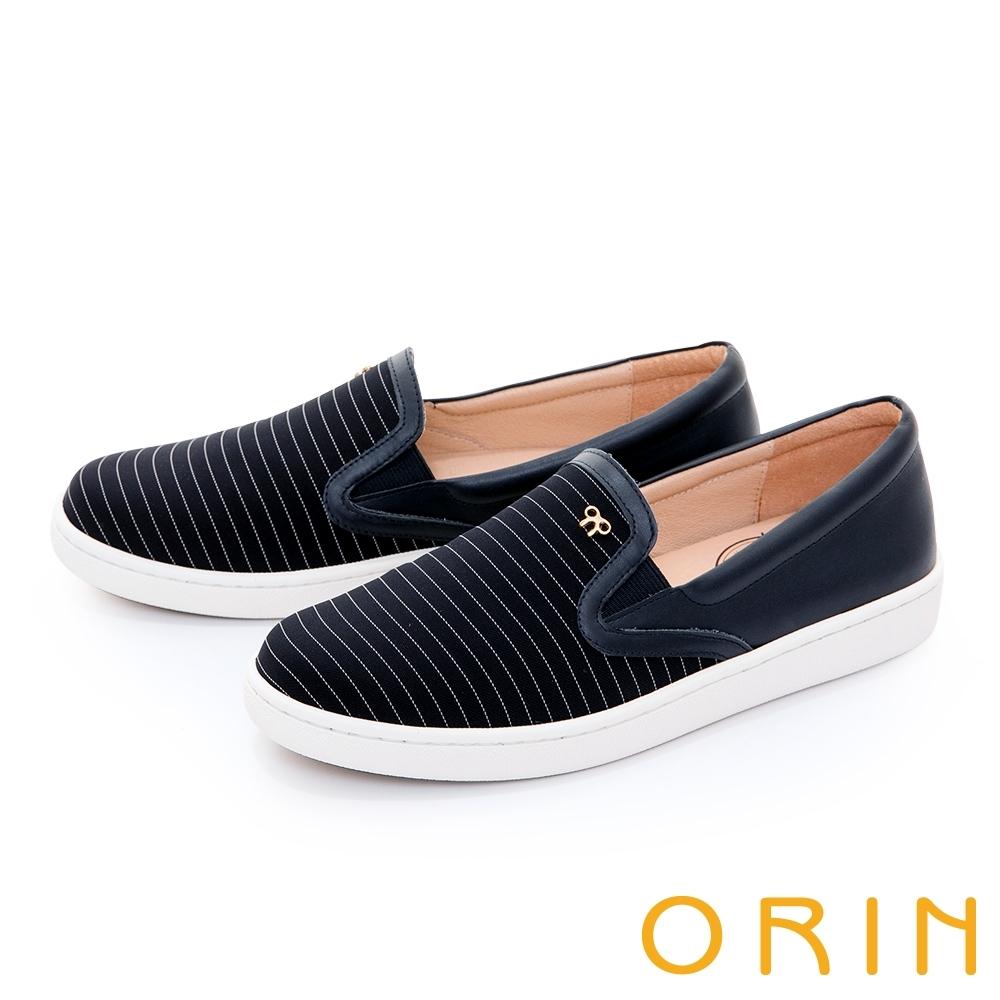 ORIN 條紋拼接五金平底 女 休閒鞋 深藍