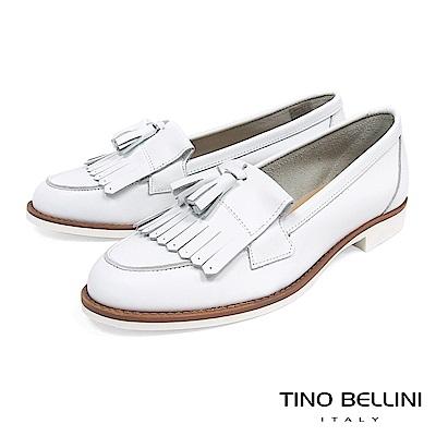 Tino Bellini 義大利進口文青學院風雙層流蘇莫卡辛鞋 _ 白