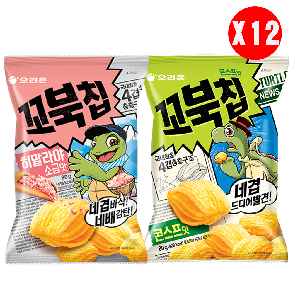 好麗友 烏龜玉米脆片箱購(80gx12包)