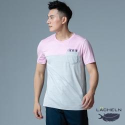 【LACHELN】抗UV吸排乾爽彈性休閒男圓領短T恤-L92MA03淺灰色