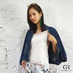 GLORY21 燒花造型簍空背心_白