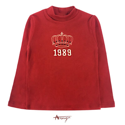 Annys1989字母皇冠塗鴉造型長袖上衣*6488紅