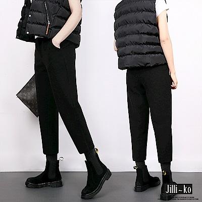 Jilli-ko 韓版毛呢寬直筒蘿蔔褲-黑