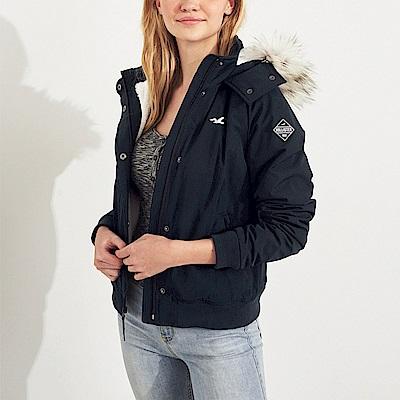 海鷗 Hollister 年度熱銷極地保暖連帽風衣外套(女)-深藍色
