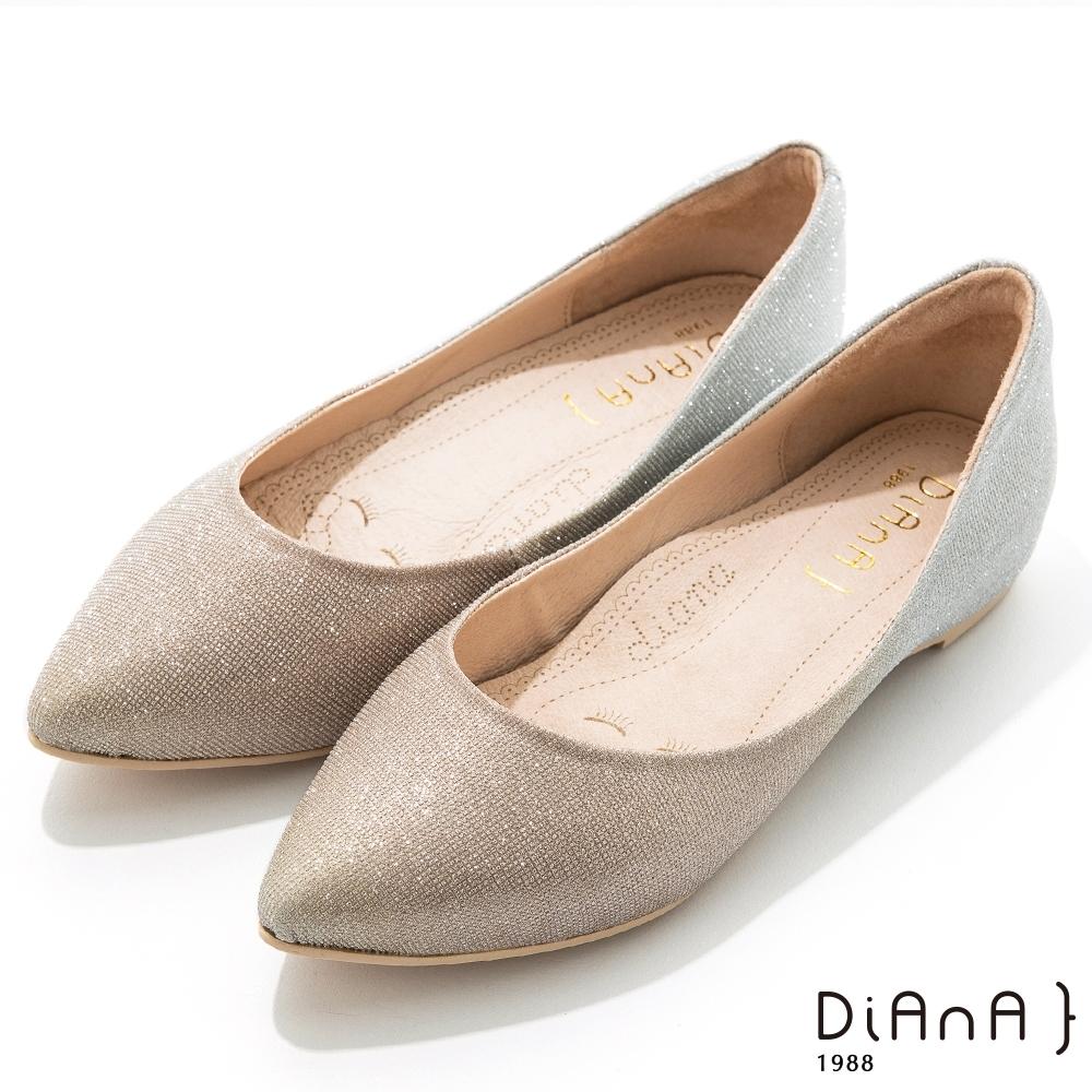 DIANA 2.5cm閃耀法式鑽石紋漸層尖頭內增高低跟鞋-漸層金