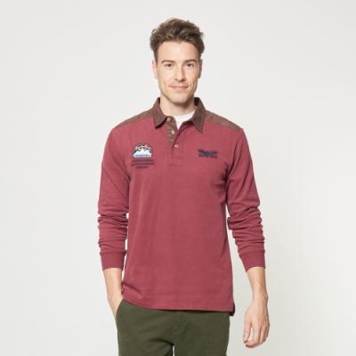 JEEP 衣領撞色拼接長袖POLO衫 -紅木色