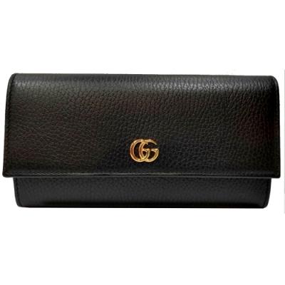 GUCCI  經典荔枝牛皮雙G logo壓釦長夾(黑色)