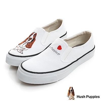 Hush Puppies 巴吉度狗繡花咖啡紗懶人便鞋-白色
