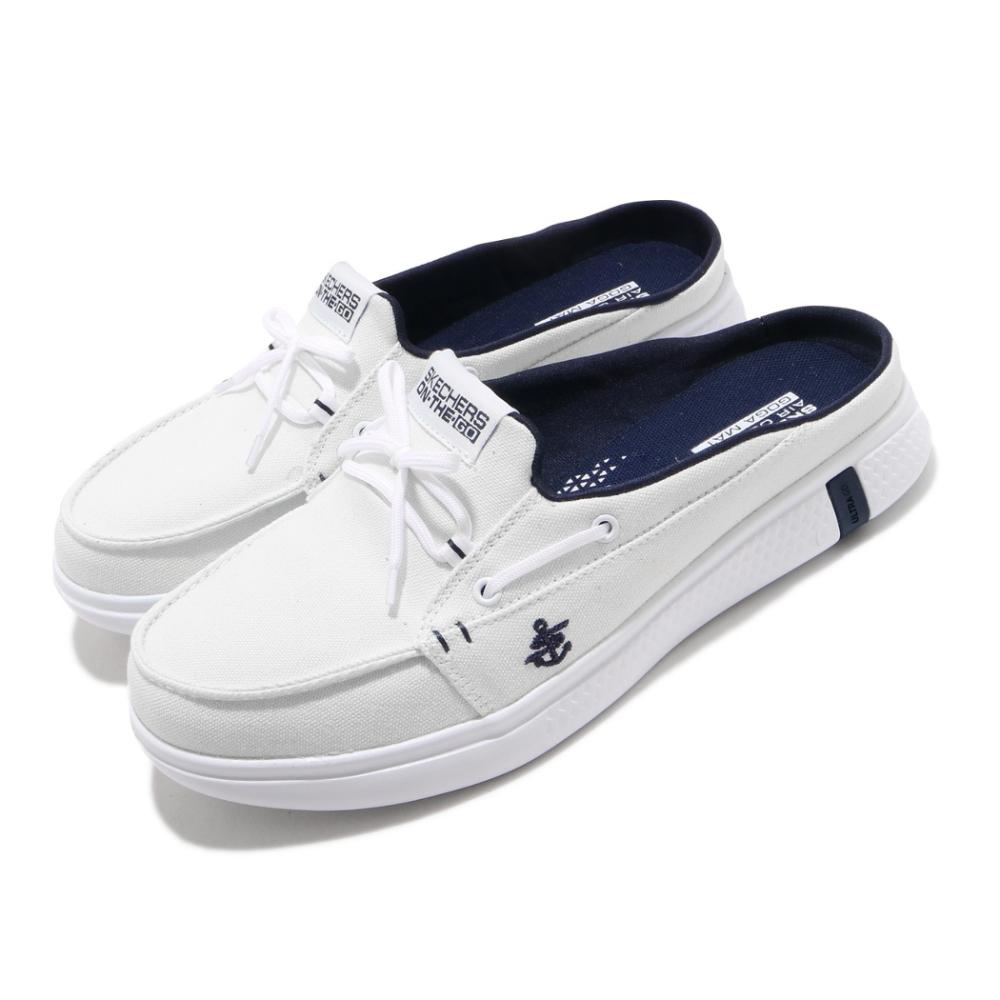 Skechers 拖鞋 Glide Ultra Sail 穆勒鞋 女鞋 瑜珈鞋墊 輕便 好穿脫 休閒鞋 白 藍 16121WNV