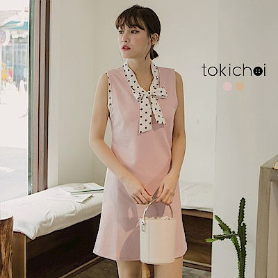 東京著衣 氣質秘書款蝴蝶結領兩件式洋裝-S.M(共二色)