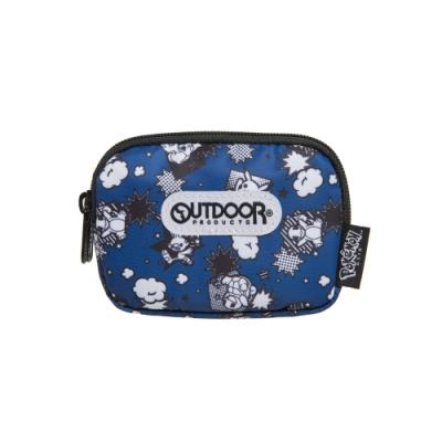 【OUTDOOR】Pokemon聯名款黑白漫畫雙拉鍊零錢包-藍色 ODGO20A11NY