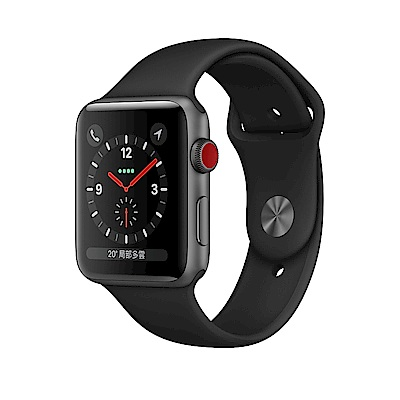 Apple Watch S3 (GPS 網路) 42mm太空灰鋁金屬錶殼搭配黑色運動型錶帶