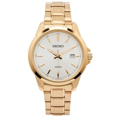 SEIKO 雅致時尚男性手錶(SUR158P1)-銀白面X金色/42mm