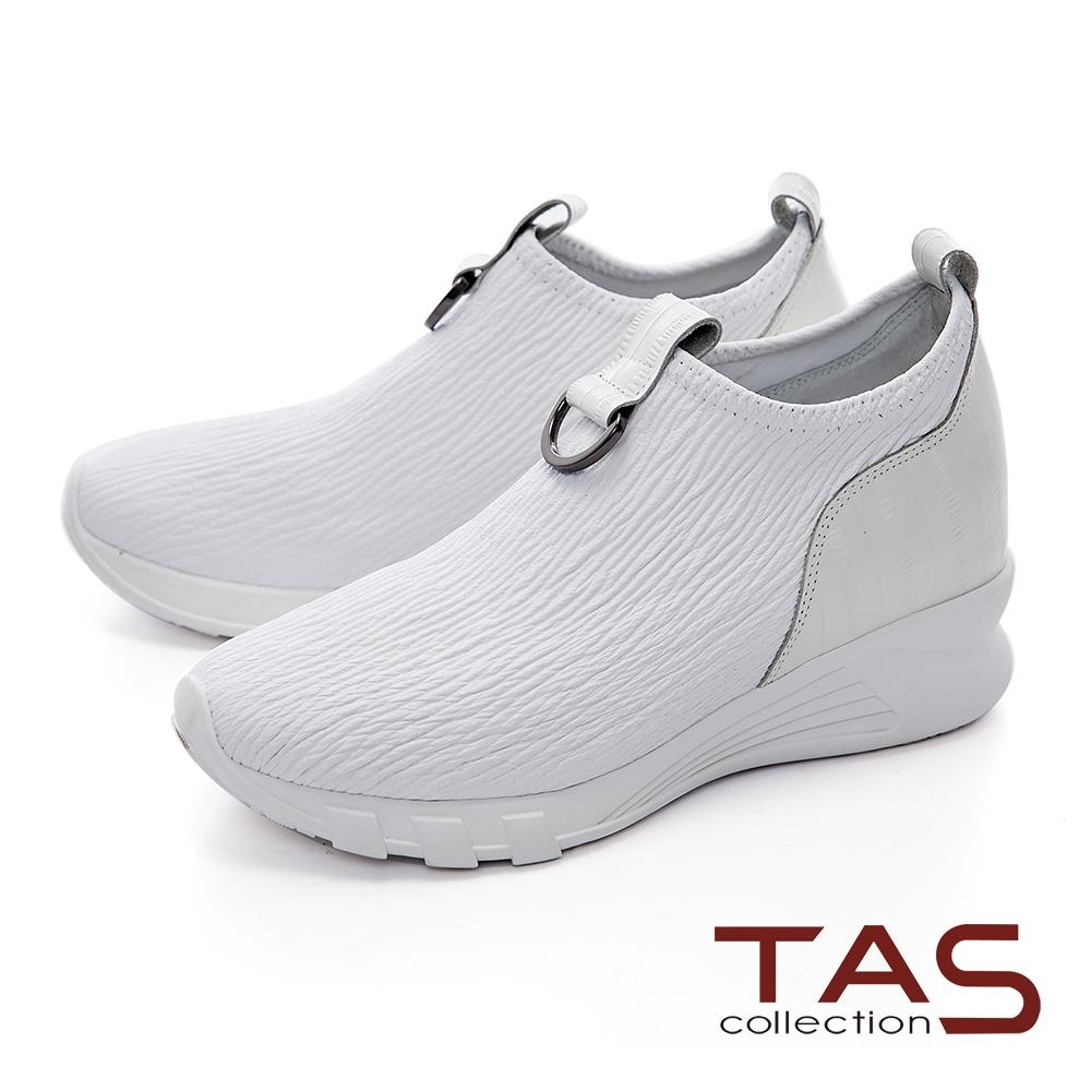 TAS金屬馬蹄扣飾彈力牛皮內增高休閒鞋–亮麗白