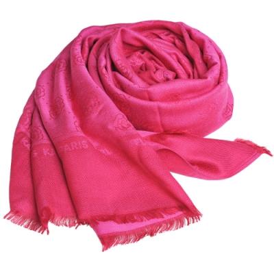 Karl Lagerfeld Paris 品牌繽紛浮水印嫘縈材質造型圍巾(桃紅色系)