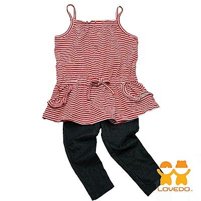 【LOVEDO-艾唯多童裝】熱情紅白條紋 兩件組套裝(紅)