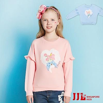 JJLKIDS 氣質玫瑰花邊袖上衣(2色)