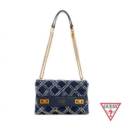 GUESS-女包-復古菱格金屬LOGO肩背包-藍 原價3290