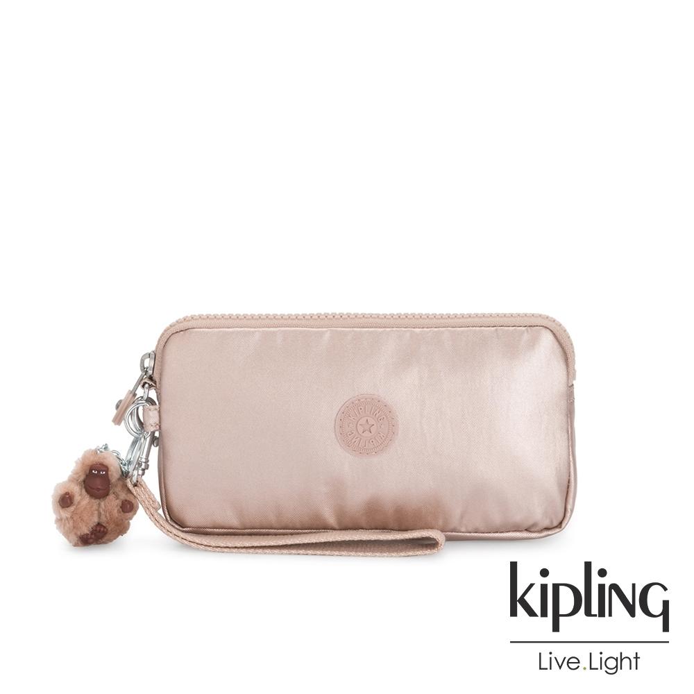 Kipling 金屬光玫瑰金手拿包-LOWIE