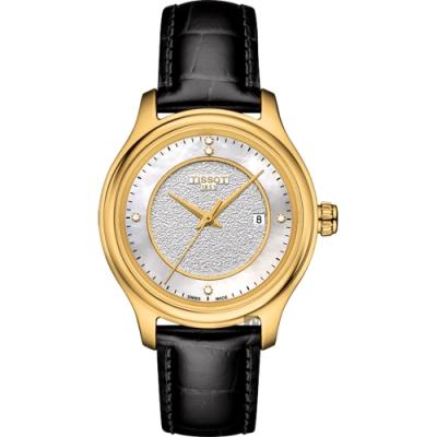 TISSOT天梭 18K金 Fascination 真鑽石英錶-珍珠貝x黑/30mm T9242101611600