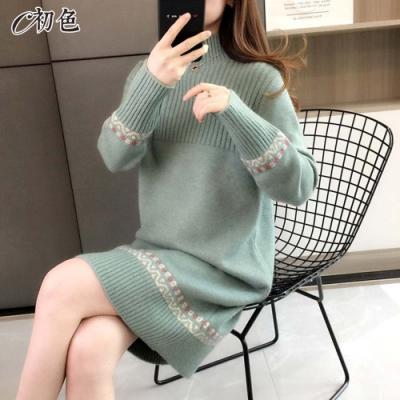 初色  高領條紋針織連身裙-共4色-(F可選)
