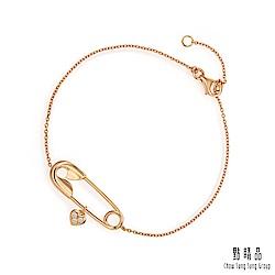 點睛品 愛情密語 愛心扣針 18K玫瑰金鑽石手鍊