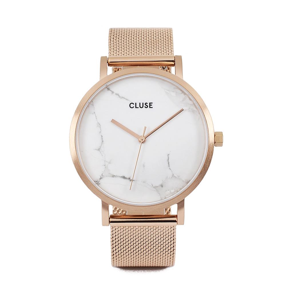 CLUSE荷蘭精品手錶 大理石系列 白錶盤/玫瑰金色米蘭錶帶38mm