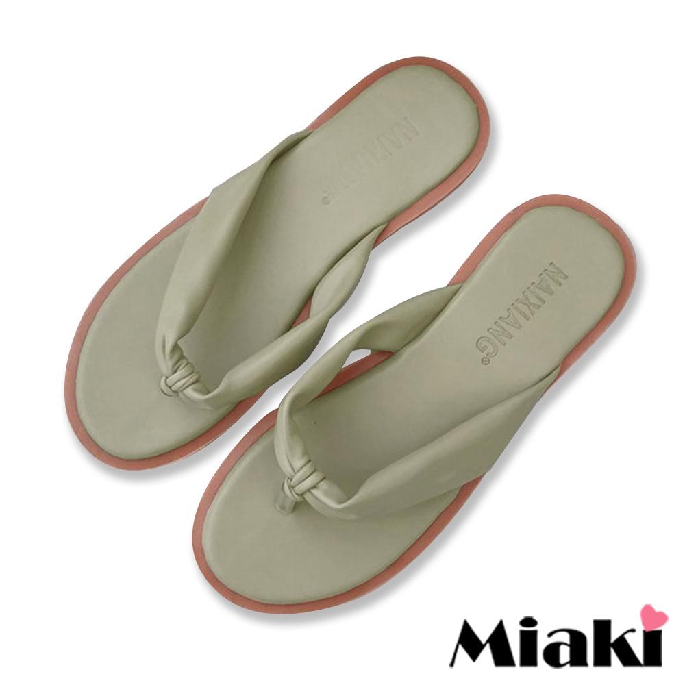 Miaki-拖鞋夏季超柔軟平底涼拖鞋-綠